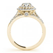 Fairy Tale Double Halo Diamond Engagement Ring 14k Yellow Gold 1.13ct