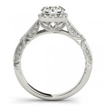 Diamond Square Halo Art Deco Engagement Ring 14k White Gold (1.31ct)