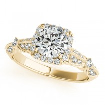 Diamond Square Halo Art Deco Engagement Ring 14k Yellow Gold (1.31ct)
