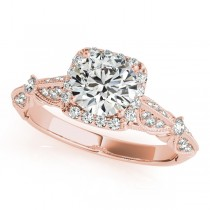 Diamond Square Halo Art Deco Engagement Ring 18k Rose Gold (1.31ct)