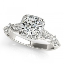 Diamond Square Halo Art Deco Engagement Ring Platinum (1.31ct)