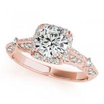 Diamond Square Halo Art Deco Bridal Set 14k Rose Gold (1.45ct)