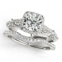 Diamond Square Halo Art Deco Bridal Set 14k White Gold (1.45ct)