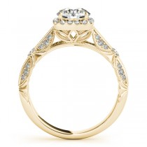 Diamond Square Halo Art Deco Bridal Set 14k Yellow Gold (1.45ct)