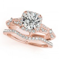 Diamond Square Halo Art Deco Bridal Set 18k Rose Gold (1.45ct)