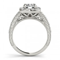 Square Halo Diamond Engagement Ring Vintage Style 14k W. Gold 1.00ct