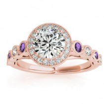 Amethyst & Diamond Halo Engagement Ring 14K Rose Gold (0.36ct)