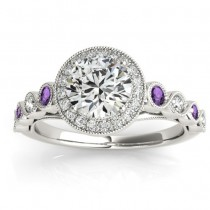 Amethyst & Diamond Halo Engagement Ring 18K White Gold (0.36ct)