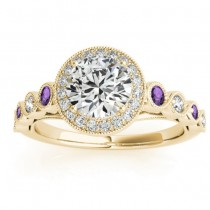 Amethyst & Diamond Halo Engagement Ring 18K Yellow Gold (0.36ct)