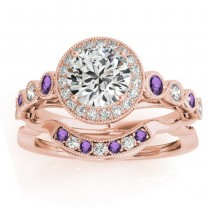 Amethyst & Diamond Halo Bridal Set Setting 14K Rose Gold (0.54ct)