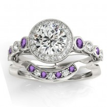 Amethyst & Diamond Halo Bridal Set Setting 14K White Gold (0.54ct)
