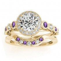Amethyst & Diamond Halo Bridal Set Setting 18K Yellow Gold (0.54ct)