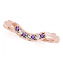 Amethyst & Diamond Contoured Wedding Band 14k Rose Gold (0.05ct)