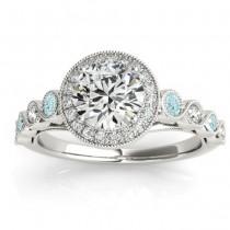 Aquamarine & Diamond Halo Engagement Ring 14K White Gold (0.36ct)