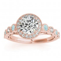 Aquamarine & Diamond Halo Engagement Ring 18K Rose Gold (0.36ct)