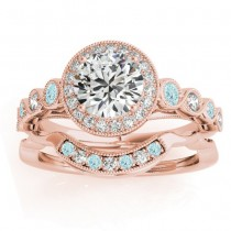 Aquamarine & Diamond Halo Bridal Set Setting 14K Rose Gold (0.54ct)