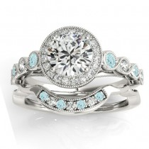 Aquamarine & Diamond Halo Bridal Set Setting 14K White Gold (0.54ct)