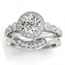 Aquamarine & Diamond Halo Bridal Set Setting 18K White Gold (0.54ct)