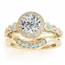 Aquamarine & Diamond Halo Bridal Set Setting 18K Yellow Gold (0.54ct)