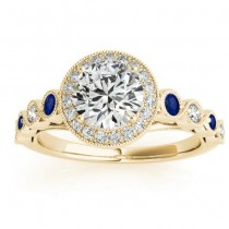 Blue Sapphire & Diamond Halo Engagement Ring 18K Yellow Gold (0.36ct)