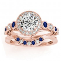 Blue Sapphire & Diamond Halo Bridal Set 14K Rose Gold (0.54ct)