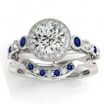 Blue Sapphire & Diamond Halo Bridal Set 14K White Gold (0.54ct)