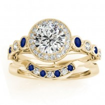 Blue Sapphire & Diamond Halo Bridal Set 14K Yellow Gold (0.54ct)