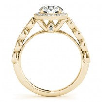 Blue Sapphire & Diamond Halo Bridal Set 18K Yellow Gold (0.54ct)