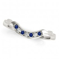 Blue Sapphire & Diamond Wedding Band 14k White Gold (0.05ct)