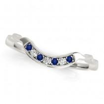 Blue Sapphire & Diamond Wedding Band 18k White Gold (0.05ct)