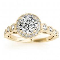 Diamond Halo Swirl Engagement Ring Setting 14K Yellow Gold (0.36ct)