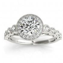 Diamond Halo Swirl Engagement Ring Setting 18K White Gold (0.36ct)