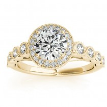 Diamond Halo Swirl Engagement Ring Setting 18K Yellow Gold (0.36ct)