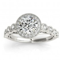 Diamond Halo Swirl Engagement Ring Setting Palladium (0.36ct)