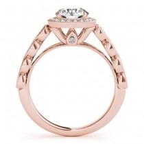Emerald & Diamond Halo Engagement Ring 14K Rose Gold (0.36ct)