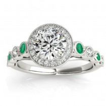 Emerald & Diamond Halo Engagement Ring 14K White Gold (0.36ct)