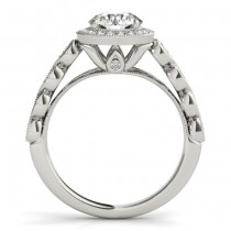 Emerald & Diamond Halo Engagement Ring 18K White Gold (0.36ct)