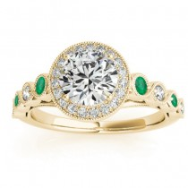 Emerald & Diamond Halo Engagement Ring 18K Yellow Gold (0.36ct)