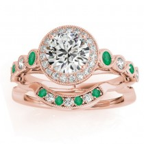 Emerald & Diamond Halo Bridal Set Setting 14K Rose Gold (0.54ct)