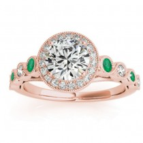 Emerald & Diamond Halo Bridal Set Setting 14K Rose Gold (0.54ct)