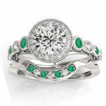Emerald & Diamond Halo Bridal Set Setting 14K White Gold (0.54ct)