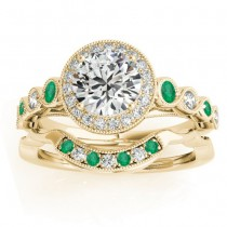 Emerald & Diamond Halo Bridal Set Setting 14K Yellow Gold (0.54ct)