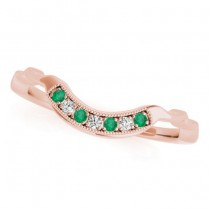 Emerald & Diamond Contoured Wedding Band 14k Rose Gold (0.05ct)