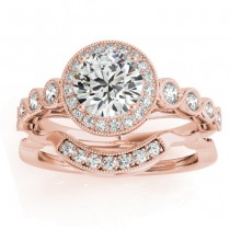 Diamond Halo Swirl Bridal Set Setting 14K Rose Gold (0.41ct)