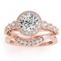 Diamond Halo Swirl Bridal Set Setting 14K Rose Gold (0.41ct)