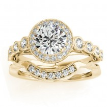 Diamond Halo Swirl Bridal Set Setting 14K Yellow Gold (0.41ct)