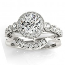 Diamond Halo Swirl Bridal Set Setting 18K White Gold (0.41ct)