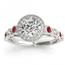 Ruby & Diamond Halo Engagement Ring 14K White Gold (0.36ct)