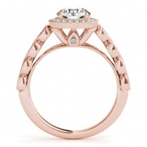 Ruby & Diamond Halo Bridal Set Setting 14K Rose Gold (0.54ct)