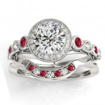 Ruby & Diamond Halo Bridal Set 14K White Gold 0.54ct